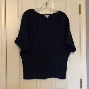 Short sleeve navy sweater